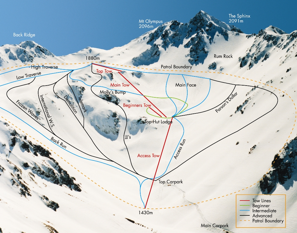 New Zealand Mountains Map.The Mountain Mt Olympus Ski In The Playground Of The Gods